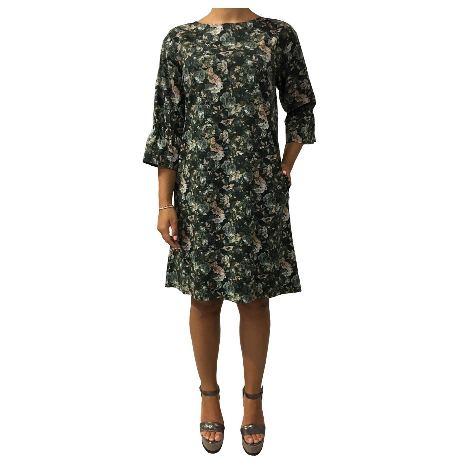 WETPAINT women's dress green fantasy 97% cotton 3% elastane MADE IN ITALY