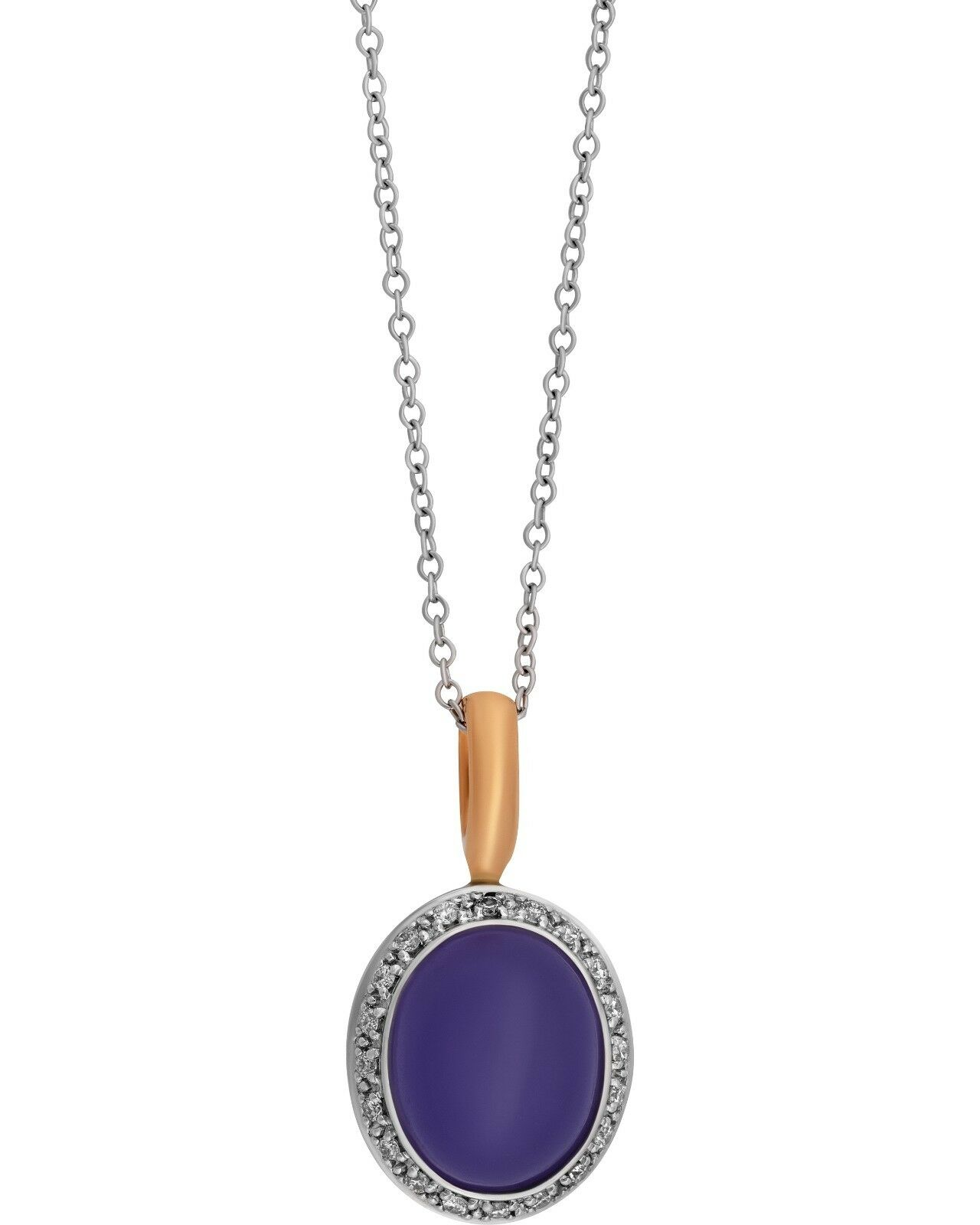 Mimi Milano 18k pink And White gold Lavender Jade And Diamond Pendant P320C8LB