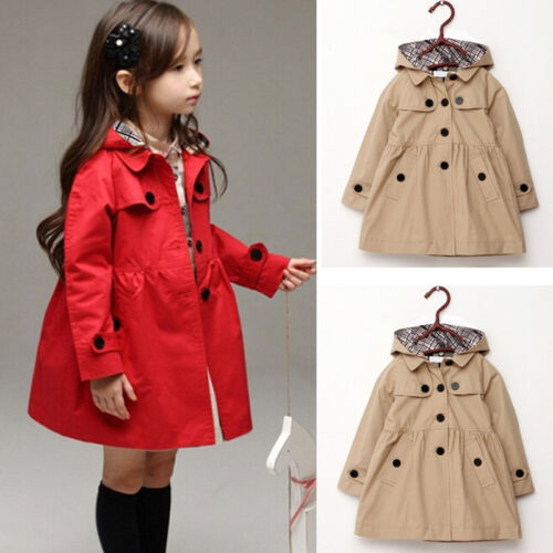 New Kids Girls Winter Clothes Fleece Outerwear Long Trench Wind Coat Jacket 2~7Y
