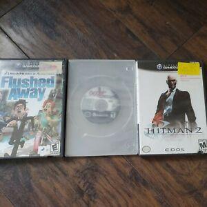 Nintendo gamecube lot Flushed Away ,hitman 2 and 007 everything or nothing works