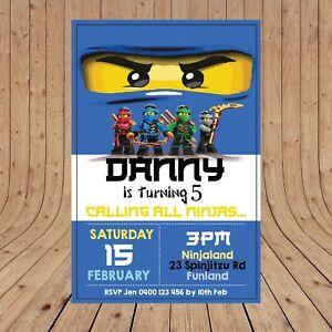 Personalised Digital Ninjago Blue Jay Kids Birthday Invitations You