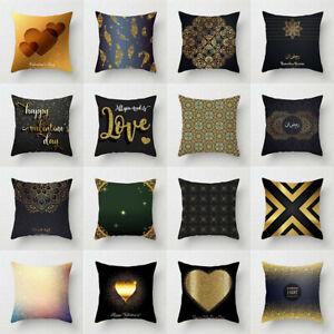 "New 18/"" 20/"" Black Geometry Pillow Case Sofa Throw Waist Cushion Cover Home Decor"