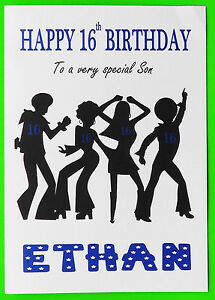 Image Is Loading PERSONALISED 16th Birthday Card Disco BOY MALE FRIEND