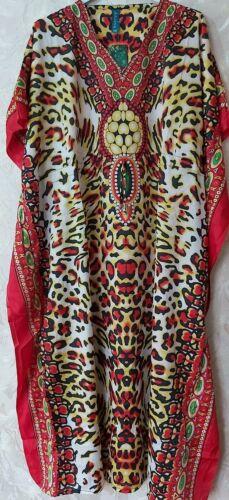 Women/'s Ladies New Summer Leopard print Long kaftan dress african style 12-24