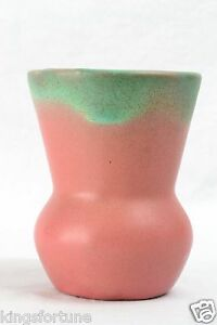 Muncie-Pottery-1930-039-s-Green-Drip-Over-Rose-Pink-Vase-Shape-472-5-5A