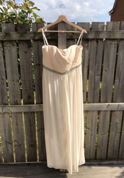 Bhs Alana Strapless Pleat Bodice Bridal Dress - Uk 16 - Rrp £110