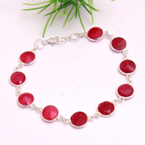 """Noël SP facettes cachemire rouge rubis Bracelet Argent Sterling 925 Bijoux 7.75/"""""""