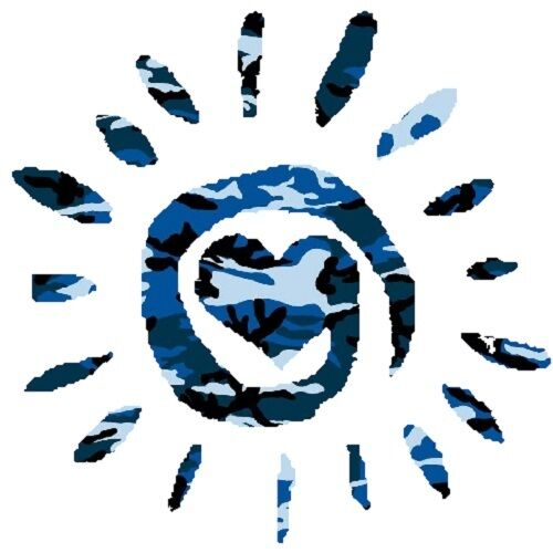 30 Custom Blue Camo Heart Sun Personalized Address Labels