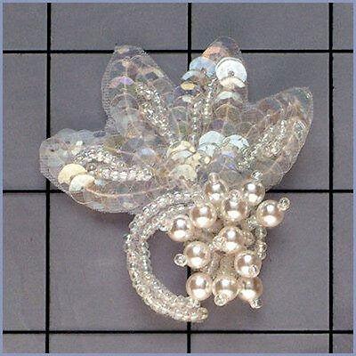 CRYSTAL IRIS PEARL SEQUIN BEADED FLOWER APPLIQUE 2362-B