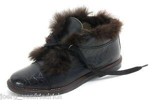 Chaussures D'Hiver Vintage à Lacets Cuir Cheville andre samoa Fourrure 36