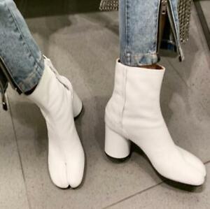 Chic Womens Tabi Split Toe Bootie Block Heel Side Zip Ankle Boots Leather Shoes