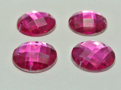50 Hot Pink Acrylic Flatback Sewing Rhinestone Round Button 20mm Sew on beads