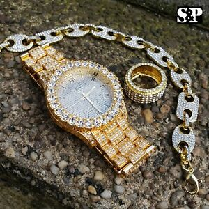 MEN-HIP-HOP-ICED-OUT-LAB-DIAMOND-WATCH-amp-RING-amp-GUCCI-CHAIN-BRACELET-COMBO-SET