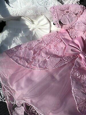Spanish Lace Baby Dress Pink /& Off White Spanish Ribbon 3-6-12-18-24-36 Mths