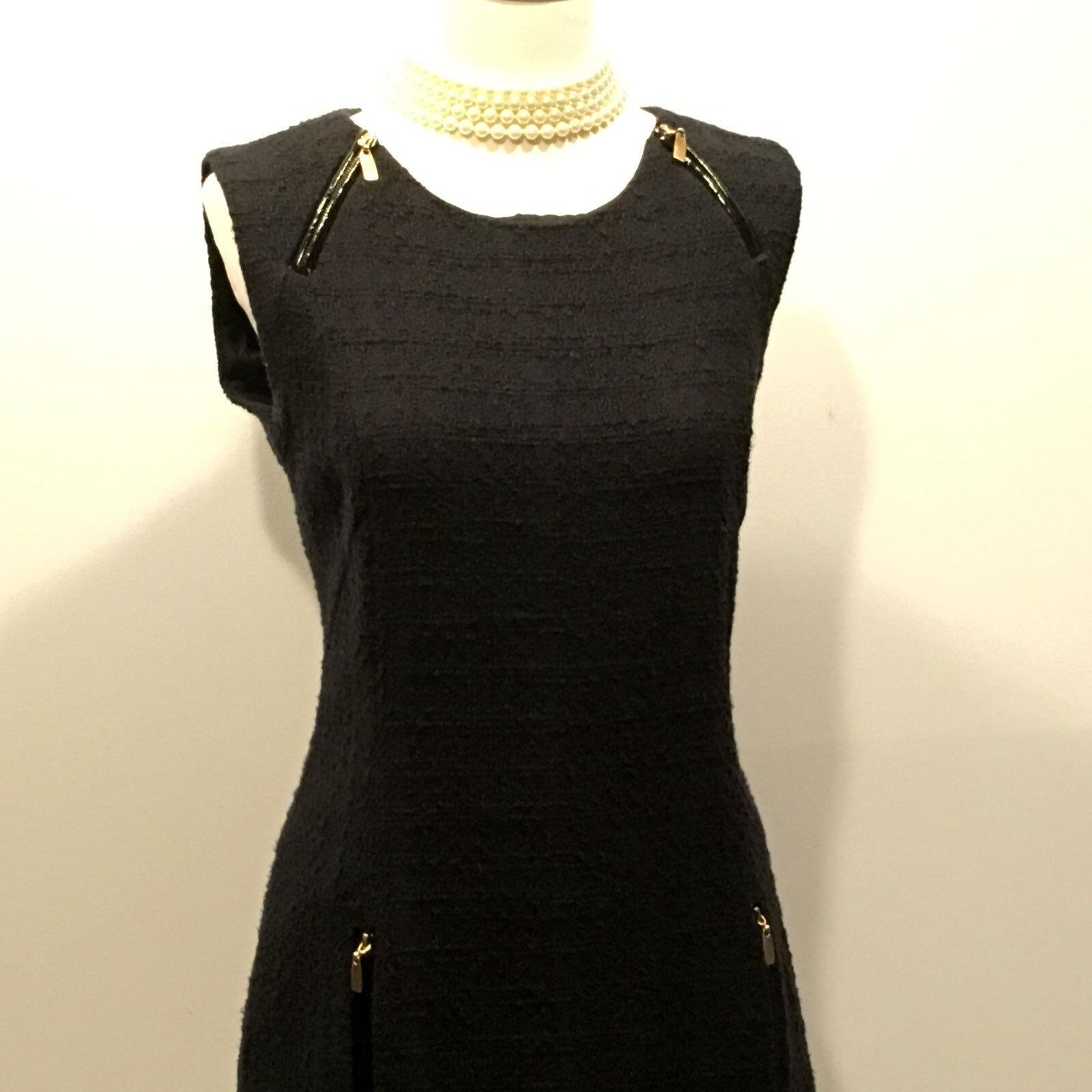 4ab89a9e52b ... Laundry by Shelli Shelli Shelli Segal Patent Leather Trimmed Boucle  Sheath Dress - Size 06 93a25c ...