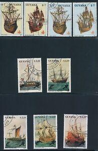 Guyana-034-SAILING-SHIPS-amp-TRAINS-034-SETS-OF-1988-90-USED-CTO-039-S-HINGED