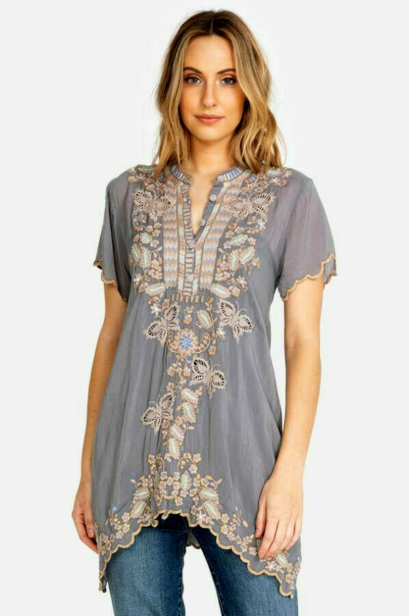 Johnny Was Monark Tunic blouse cloud embroidered long sleeve henley buttons L,M