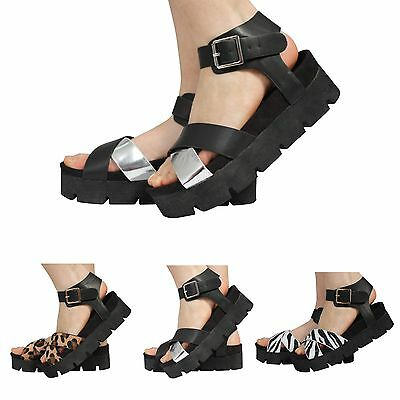 Señoras para mujer suela gruesa correa de tobillo de hebilla Verano Cuñas Plataforma Sandalias Zapatos