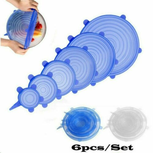 6Pcs Universal Silicone Stretch Suction Pot Lids Kitchen Cover Pan Bowl Blue