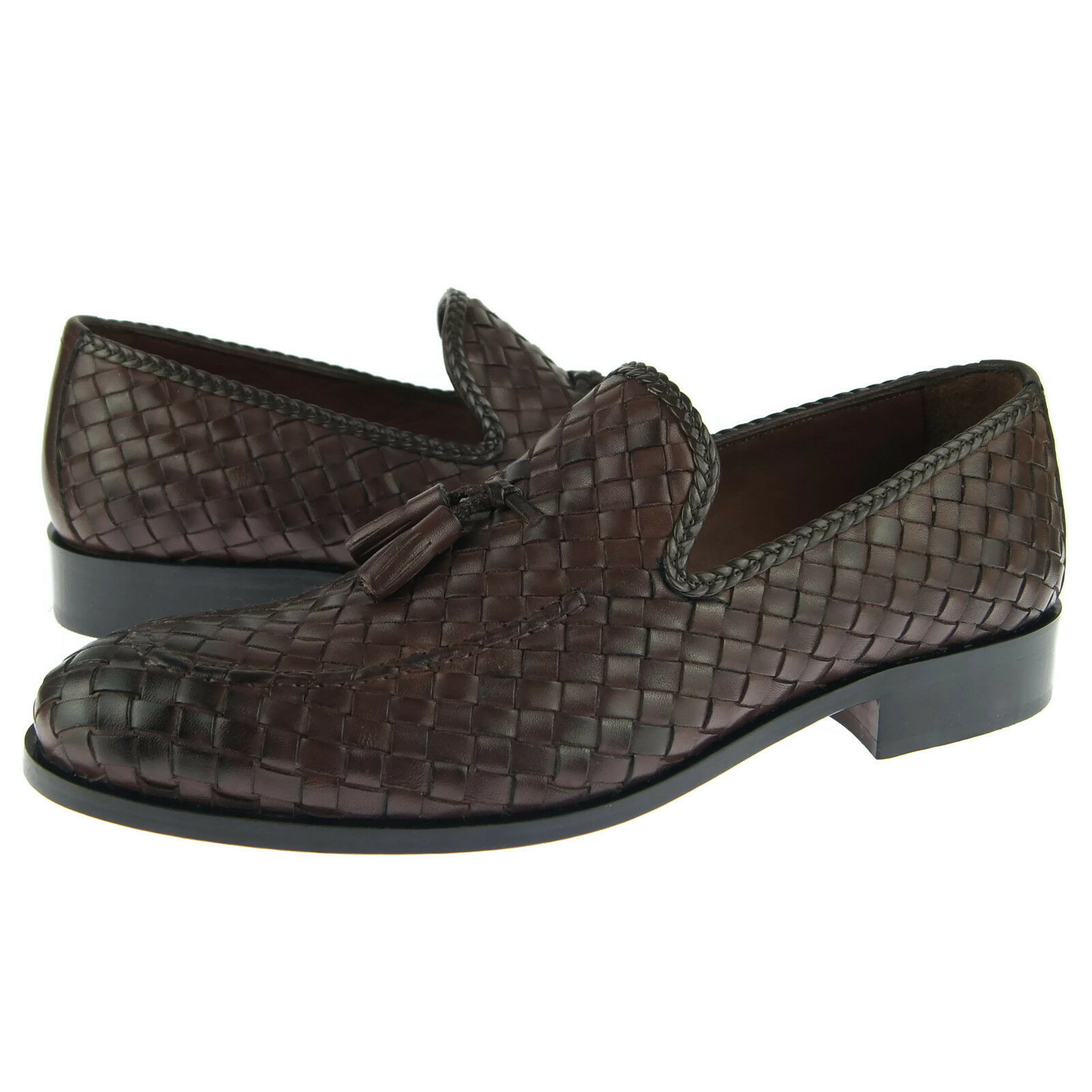 Alex D  Baltimore  Woven Tassel Loafer, Men's Dress Casual Leather shoes, Brown