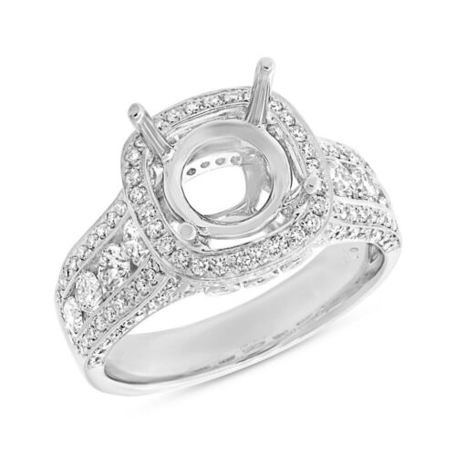 18k White Gold 9.4mm Round Semi Stringer Diamond Cushion Halo Engagement Ring
