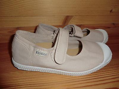Fritz Kitz Gr. 34 K76997 Sommer Schuhe Stoff Spangen Ballerina beige creme Klett