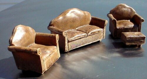 Brown 4 Pc Leather Couch Set Miniatures Couch 2 Chairs Ottoman 1//24 Scale G