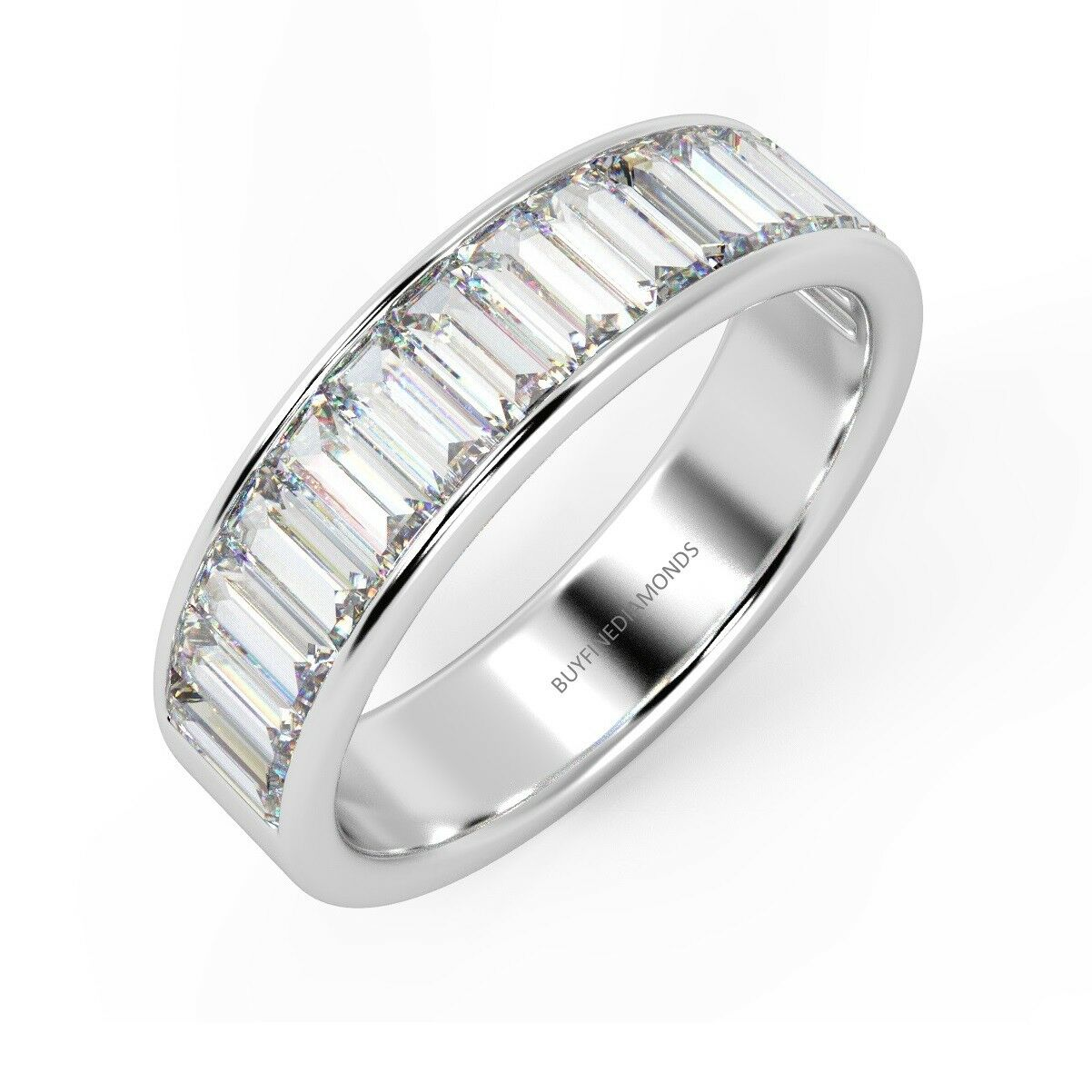 100% Natural Certified Baguette Diamond Half Eternity Ring, (0.50ct-3.00ct)