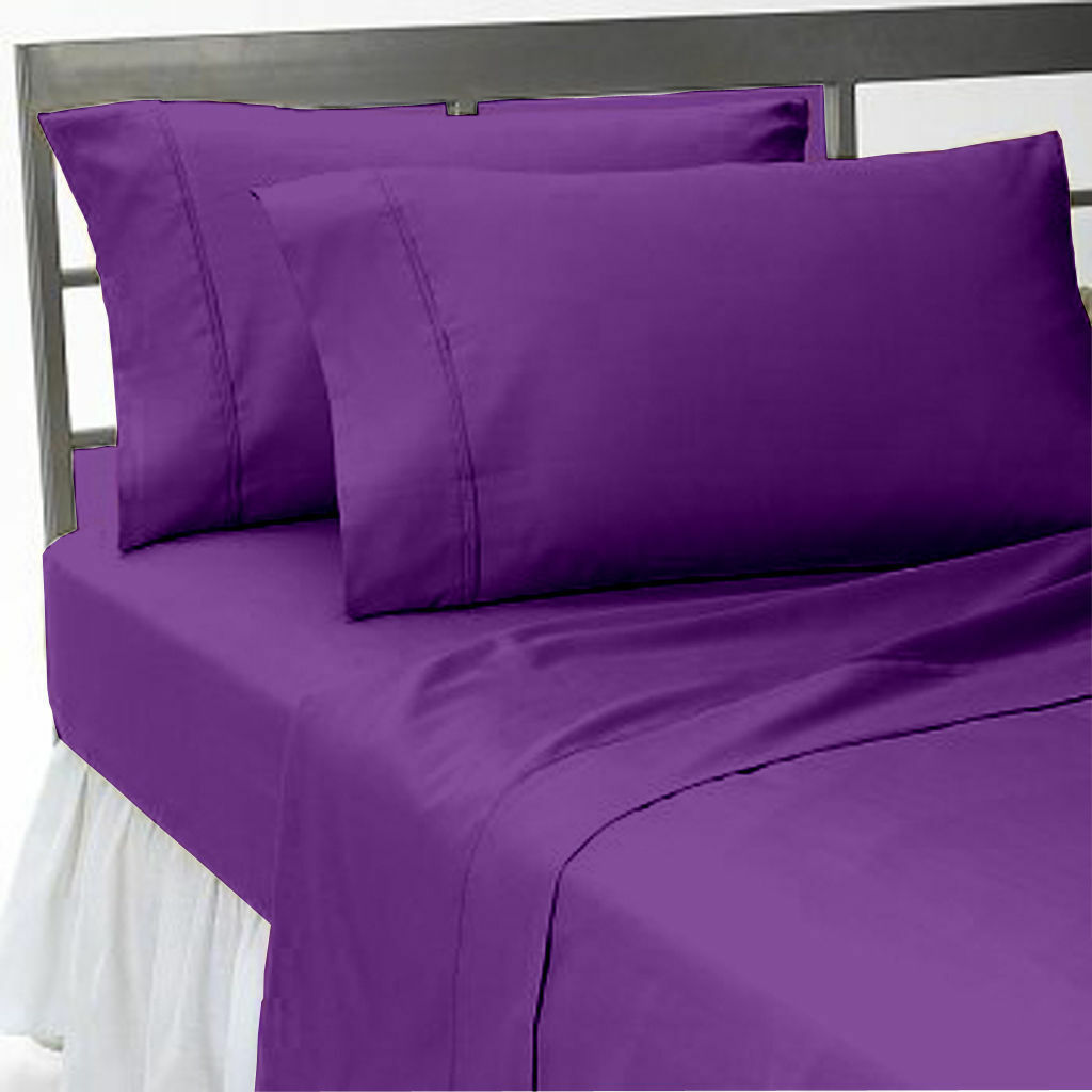 Egyptian Cotton 1000 TC Deep Pkt 3 PC Duvet Set+Fitted Sheet Purple Solid color