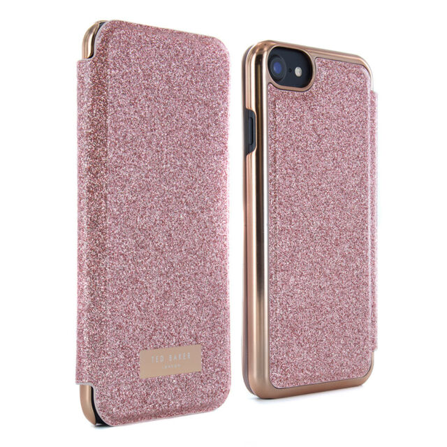 d140458496f1a Official Ted Baker Glitsie Mirror Folio Case Fits iPhone 7   6s Rose ...