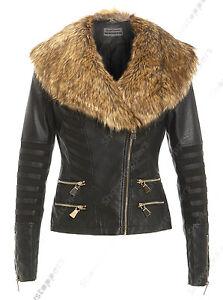 NUOVA-giacca-da-motociclista-in-finta-pelliccia-da-donna-aderente-in-finta-pelle-con-tacco-taglia-8