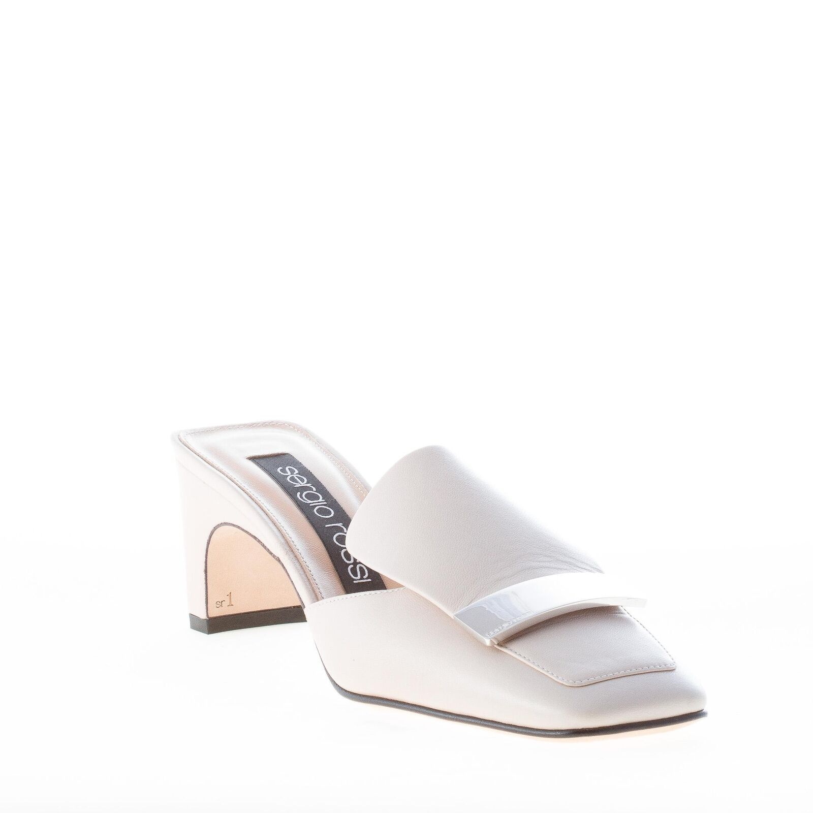 SERGIO ROSSI leather damen schuhe women shoes Ivory leather ROSSI mule silver-tone plaque 50d728