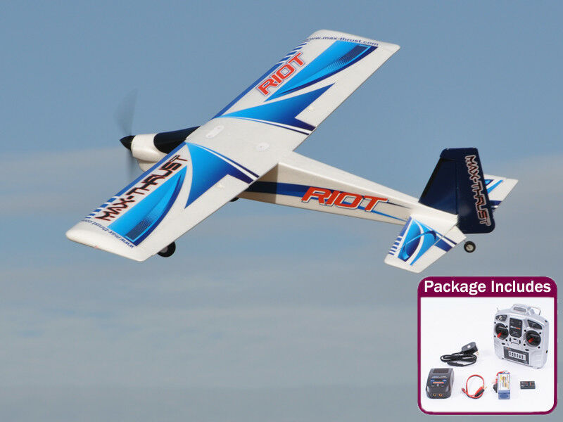 Ready to Fly Max-Thrust Riot V2 Radio Remote Control Model Plane - bluee