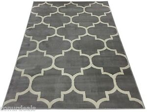 moroccan trellis lattice grey off white area rugs 5x7 5x8 8x10 8x11 ebay. Black Bedroom Furniture Sets. Home Design Ideas