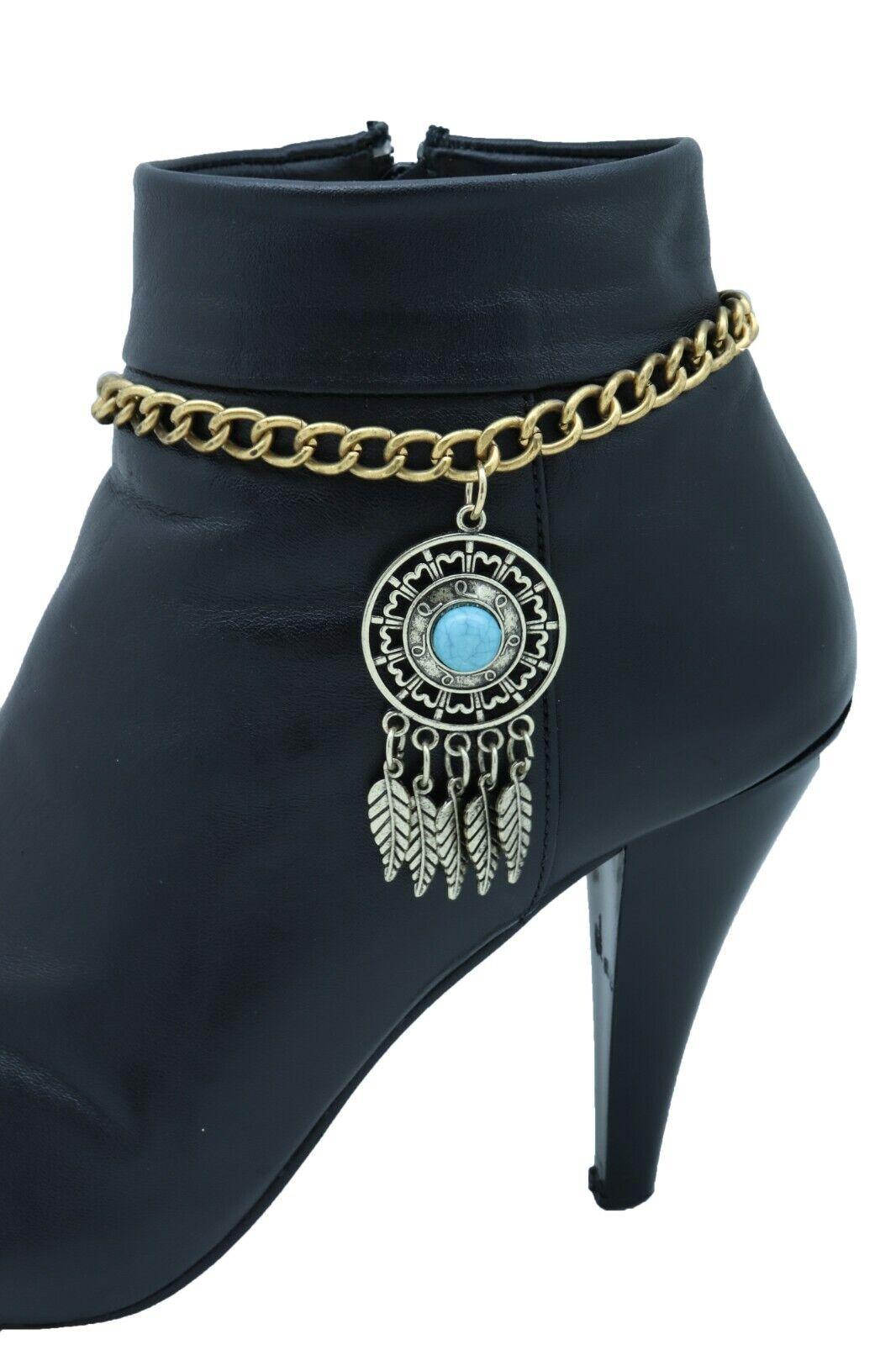 Women Gold Metal Boot Chain Bracelet Shoe Feather Turquoise Blue Charm Bohemian