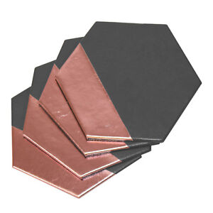 Compacte-hexagonale-Faux-Leather-Grey-amp-Pink-Coasters-verres-coffee-table-Mug-Home-Decor