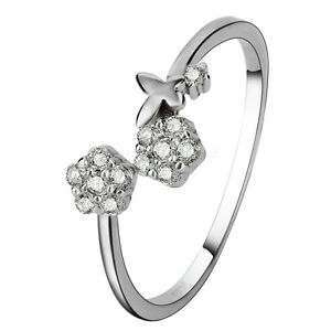 Image Is Loading Womens 925 Sterling Silver Cz Flower Erfly Stack