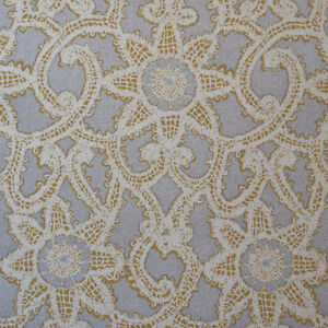 Or130 Metallic Silver Lace Geometric Print Drapery Upholstery Home