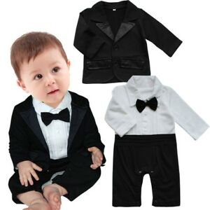dc595c946 Baby Boy Wedding Tuxedo Formal Dressy Suit Bodysuit Jacket Outfits ...