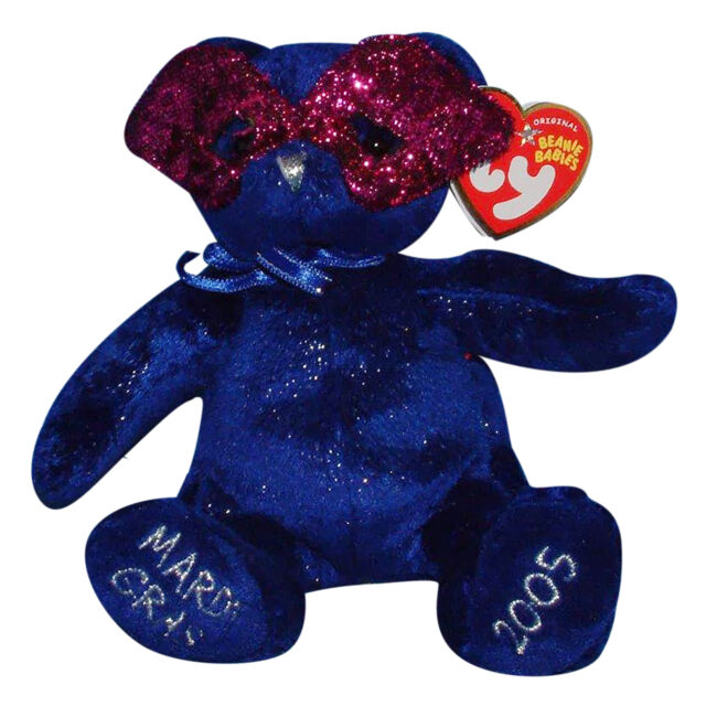 Ty Mardi Gras Beanie Baby Babies Plush Stuffed Blue Bear With