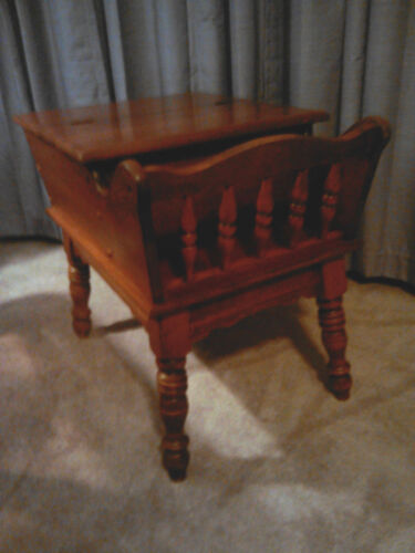 Vintage Heywood Wakefield Dough Box Style End Table With Magazine Rack
