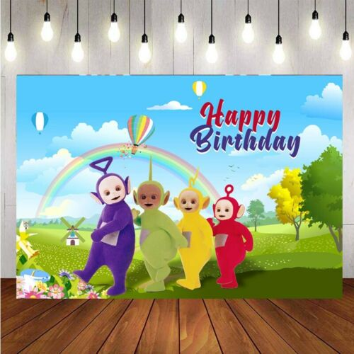 Teletubbie Photography Backdrop Kids Birthday Party Photo Background Banner Prop