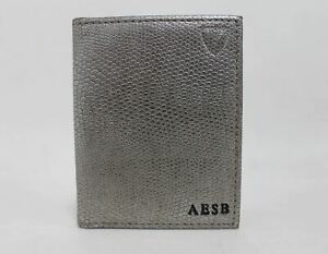 ASPINAL-OF-LONDON-Men-039-s-Grey-Lizard-Print-Leather-ID-Card-Case-Embossed-NEW