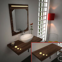 Bathroom Mahogany Counter Top Fitted Vanity Floating Shelf Furniture Unit Only