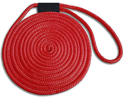 """1/2"""" x 15' Double Braid Nylon Red Dock Lines  - Made in USA"""