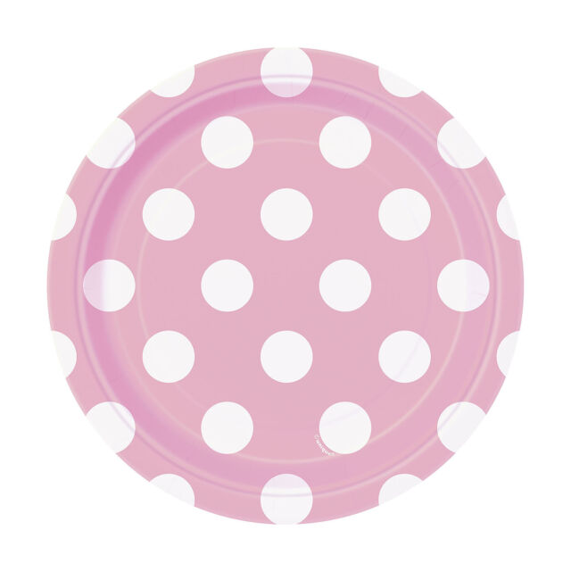 8 Baby Pink White Polka Dot Spot Style Party Small 7  Disposable Paper Plates  sc 1 st  eBay & Light Pink Polka Dot Paper Cake Plates 8ct | eBay