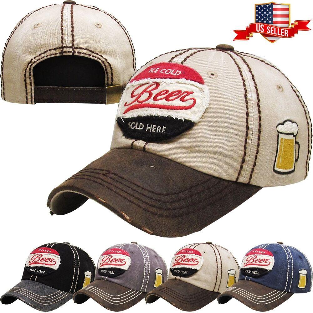 Adaptable Ice Cold Beer Vintage Effet Vieilli Casquette De Baseball Réglable Chapeau Et Aide à La Digestion