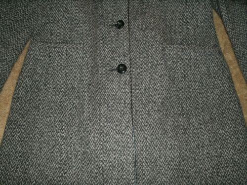 donna Grigio 12 Taglia Tweed lunga Giacca Mackintosh lana Nero in Giacca 5nUYwq1