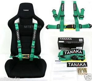 1 TANAKA UNIVERSAL GREEN 4 POINT BUCKLE RACING SEAT BELT HARNESS 2