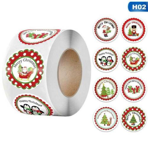 NEW Merry Christmas Thank You Stickers Labels Gift 2.5//3.8CM 500Pcs Roll Gift